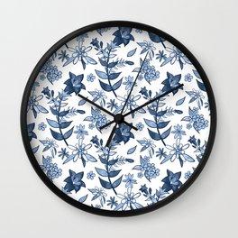 Monochrome Blue Alpine Flora Wall Clock