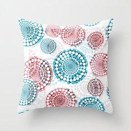 3D Medallions Red Blue Throw Pillow