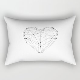 Love Heart Geometric Polygon Drawing Vector Illustration Valentines Day Gift for Girlfriend Rectangular Pillow