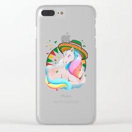 Magical Fantasy Unicorn Cinco de Mayo T Shirt Clear iPhone Case