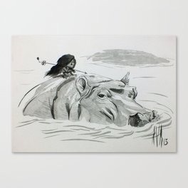 Fire and Hippo Canvas Print