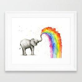 Rainbow Baby Elephant Framed Art Print