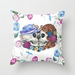 Floral Kissing Skulls Throw Pillow