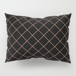 Sherwin Williams Cavern Clay SW7701 Thin Line Stripe Grid on Black Pillow Sham