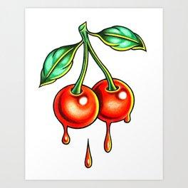 Dripping Cherries Art Print
