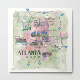Atlanta Favorite Map with touristic Top Ten Highlights in Colorful Retro Style Metal Print