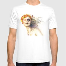 Lady Autumn Mens Fitted Tee MEDIUM White