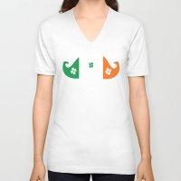 irish V-neck T-shirts featuring Irish mustache by Cindys