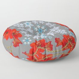 RED AMARYLLIS FLORAL GOLD  GARLAND & SNOWFLAKES  CHRISTMAS ART Floor Pillow