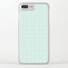Mint Passion Thalertupfen White Pōlka Round Dots Pattern Pastels Clear iPhone Case