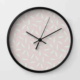 Pillow Fight, Mint on Rose Wall Clock