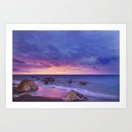 Ocean Beach Dusk Sunset Photography Art Print
