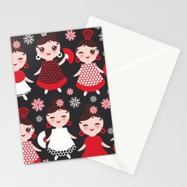 Seamless pattern spanish Woman flamenco dancer. Kawaii cute face with pink cheeks and winking eyes. Stationery Cards