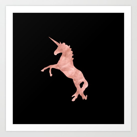 Unicorn Pink Rose Gold Black Art Print