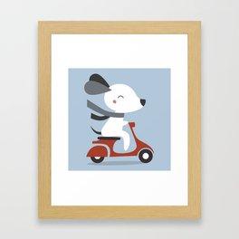 Kawaii Cute Dog Riding A Scooter Framed Art Print