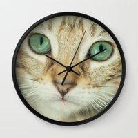 alisa burke Wall Clocks featuring FELINE BEAUTY by Catspaws