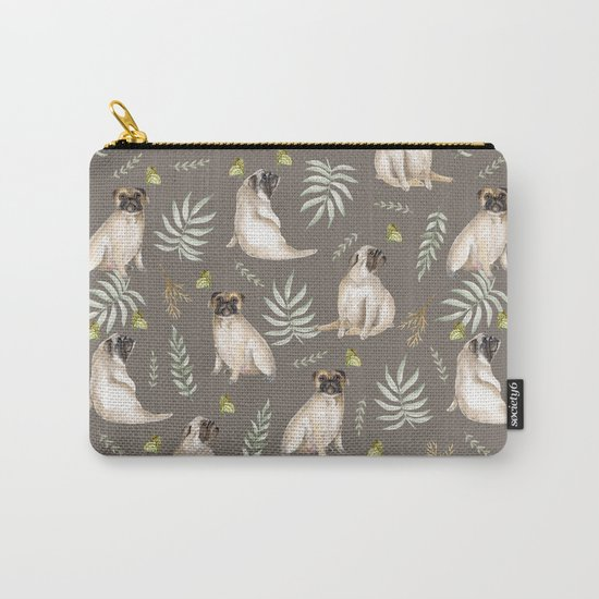 Pugs and butterflies. Brown pattern Carry-All Pouch