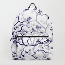 Abstract navy blue gray lavender floral illustration Backpack