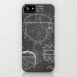 Football Helmet Patent - Football Art - Black Chalkboard iPhone Case
