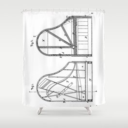 Steinway Grand Piano Patent - Piano Player Art - Black And White Shower Curtain