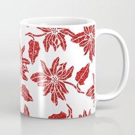 Modern red white faux glitter poinsettia elegant floral Coffee Mug