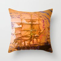 pirate ship Throw Pillows featuring pirate ship by Vector Art