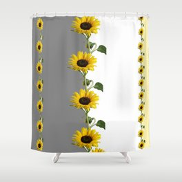 LINEAR YELLOW SUNFLOWERS GREY & WHITE ART Shower Curtain