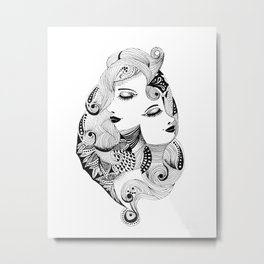 Ink drawing Zodiac Gemini Metal Print