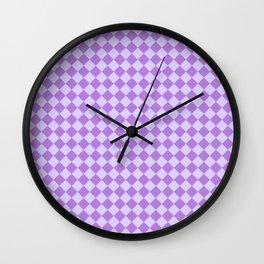 Pale Lavender Violet and Lavender Violet Diamonds Wall Clock