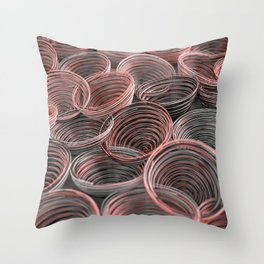 Black, white and red spiraled coils Throw Pillow