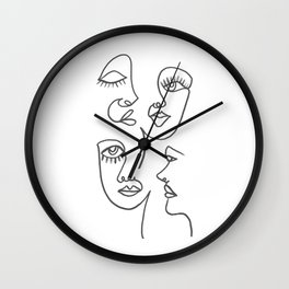 Line Art Faces Wall Clock