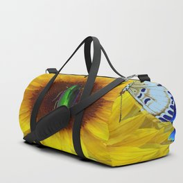 EMERALD GOLD BUG ON SUNFLOWER BUTTERFLY Duffle Bag