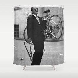 Bill F Murray Stealing A Bike Rushmore Production Photo Shower Curtain