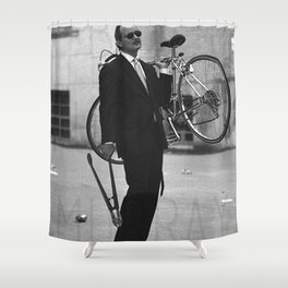 Bill F Murray stealing a bike. Rushmore production photo. Shower Curtain