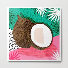 Bada Bing - memphis throwback tropical coconuts food vegan nature abstract illo neon 1980s 80s style Metal Print