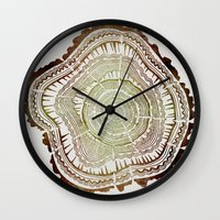 tree rings Wall Clocks featuring Tree Rings – Watercolor Ombre by Cat Coquillette