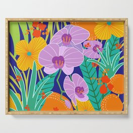 Orchid Fantasy Illustration, Tropical Colourful Orchids Serving Tray