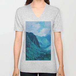 Iao Valley, Maui, Hawaiian landscape pinging by D. Howard Hitchcock Unisex V-Neck