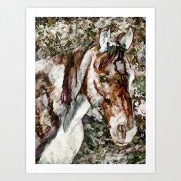 Portrait of Red Horse Art Print