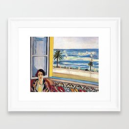 Seated Woman, Back Turned to the Open Window of Ocean & Seaside by Henri Matisse Framed Art Print