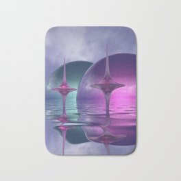 where the world is pink and turquoise Bath Mat