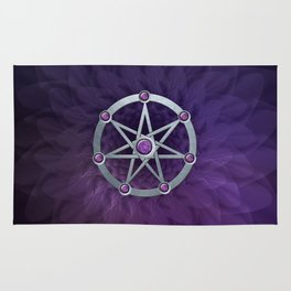 Elven star SIlver embossed with Amethyst Rug