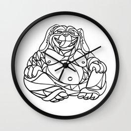 Laughing Dog Buddha Mosaic Black and White Wall Clock