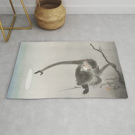 Ohara Koson, Monkey And Reflection Of The Moon In The Water - Vintage Japanese Woodblock Print Rug
