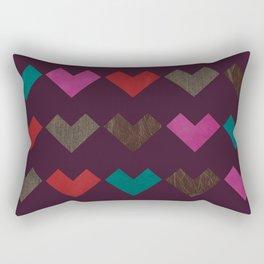 leather geometric love on dark purple Rectangular Pillow