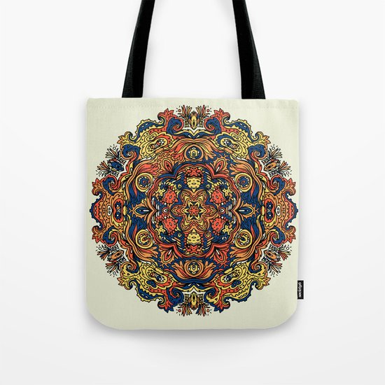 Orange Indian Mandala Tote Bag