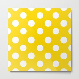Polka Dots (White/Gold) Metal Print