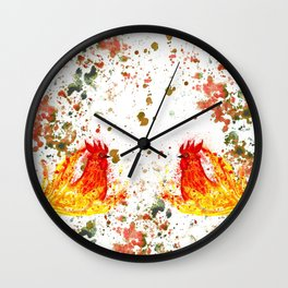 Fire watercolor rooster Wall Clock