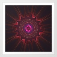 Blossom Within in Red Art Print