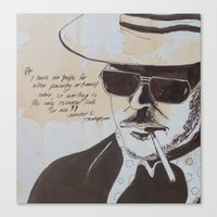 hunter s thompson Canvas Prints featuring Hunter S. Thompson by Emily Storvold